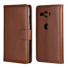 Custodia Portafoglio In Pelle Cover con Supporto per Sony Xperia XZ2 Compact Marrone