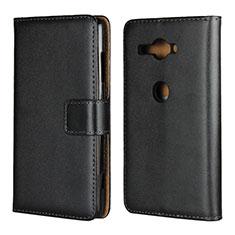 Custodia Portafoglio In Pelle Cover con Supporto per Sony Xperia XZ2 Compact Nero