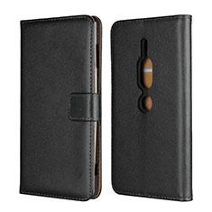 Custodia Portafoglio In Pelle Cover con Supporto per Sony Xperia XZ2 Premium Nero