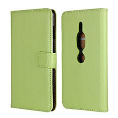 Custodia Portafoglio In Pelle Cover con Supporto per Sony Xperia XZ2 Premium Verde