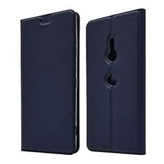 Custodia Portafoglio In Pelle Cover con Supporto per Sony Xperia XZ3 Blu