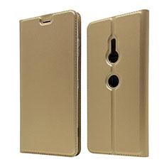 Custodia Portafoglio In Pelle Cover con Supporto per Sony Xperia XZ3 Oro
