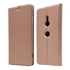 Custodia Portafoglio In Pelle Cover con Supporto per Sony Xperia XZ3 Oro Rosa