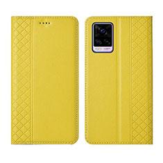 Custodia Portafoglio In Pelle Cover con Supporto per Vivo V20 Pro 5G Giallo