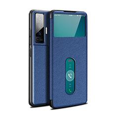 Custodia Portafoglio In Pelle Cover con Supporto per Vivo X50 5G Blu