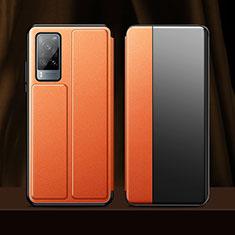 Custodia Portafoglio In Pelle Cover con Supporto per Vivo X60 5G Arancione