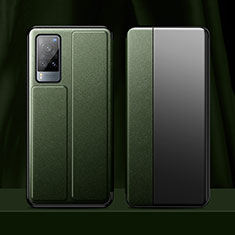 Custodia Portafoglio In Pelle Cover con Supporto per Vivo X60 5G Verde Notte