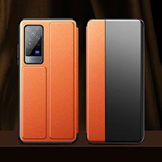 Custodia Portafoglio In Pelle Cover con Supporto per Vivo X60 Pro 5G Arancione