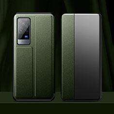 Custodia Portafoglio In Pelle Cover con Supporto per Vivo X60 Pro 5G Verde Notte