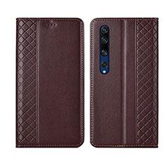 Custodia Portafoglio In Pelle Cover con Supporto per Xiaomi Mi 10 Marrone