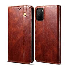Custodia Portafoglio In Pelle Cover con Supporto per Xiaomi Poco M3 Marrone