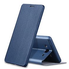 Custodia Portafoglio In Pelle Cover con Supporto S01 per Samsung Galaxy On7 G600FY Blu