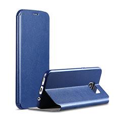 Custodia Portafoglio In Pelle Cover con Supporto S01 per Samsung Galaxy S7 G930F G930FD Blu