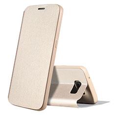 Custodia Portafoglio In Pelle Cover con Supporto S01 per Samsung Galaxy S7 G930F G930FD Oro