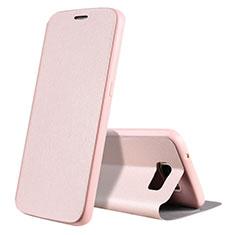 Custodia Portafoglio In Pelle Cover con Supporto S01 per Samsung Galaxy S7 G930F G930FD Oro Rosa