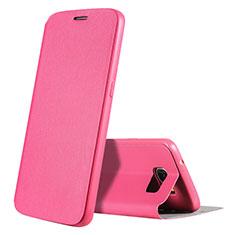 Custodia Portafoglio In Pelle Cover con Supporto S01 per Samsung Galaxy S7 G930F G930FD Rosa Caldo
