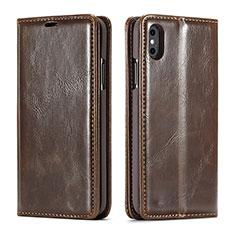 Custodia Portafoglio In Pelle Cover con Supporto T01 per Apple iPhone Xs Max Marrone