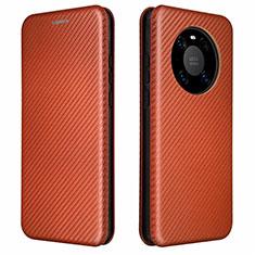 Custodia Portafoglio In Pelle Cover con Supporto T01 per Huawei Mate 40 Marrone