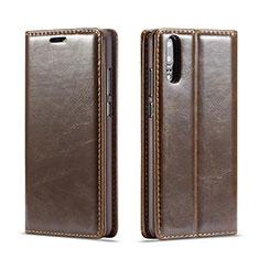 Custodia Portafoglio In Pelle Cover con Supporto T01 per Huawei P20 Marrone