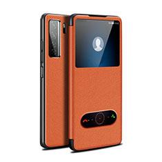 Custodia Portafoglio In Pelle Cover con Supporto T01 per Huawei P40 Lite 5G Arancione