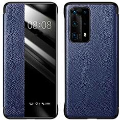 Custodia Portafoglio In Pelle Cover con Supporto T01 per Huawei P40 Pro+ Plus Blu