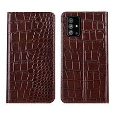 Custodia Portafoglio In Pelle Cover con Supporto T01 per Samsung Galaxy A51 5G Marrone