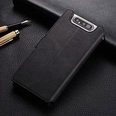 Custodia Portafoglio In Pelle Cover con Supporto T01 per Samsung Galaxy A80 Nero