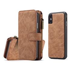 Custodia Portafoglio In Pelle Cover con Supporto T02 per Apple iPhone Xs Max Arancione