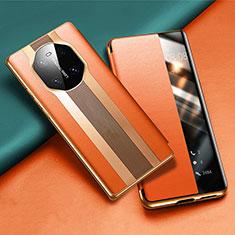 Custodia Portafoglio In Pelle Cover con Supporto T02 per Huawei Mate 40 Arancione