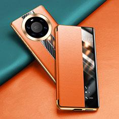 Custodia Portafoglio In Pelle Cover con Supporto T02 per Huawei Mate 40 Pro+ Plus Arancione
