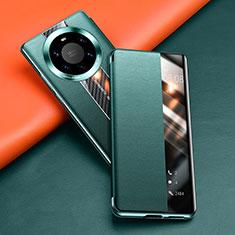 Custodia Portafoglio In Pelle Cover con Supporto T02 per Huawei Mate 40 Pro+ Plus Verde