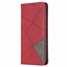 Custodia Portafoglio In Pelle Cover con Supporto T02 per Huawei P Smart (2020) Rosso