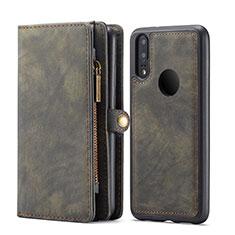 Custodia Portafoglio In Pelle Cover con Supporto T02 per Huawei P20 Lite Nero