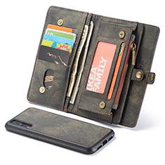 Custodia Portafoglio In Pelle Cover con Supporto T02 per Huawei P20 Nero
