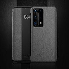 Custodia Portafoglio In Pelle Cover con Supporto T02 per Huawei P40 Pro+ Plus Nero