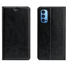 Custodia Portafoglio In Pelle Cover con Supporto T02 per Oppo Reno4 Pro 5G Nero