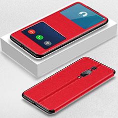 Custodia Portafoglio In Pelle Cover con Supporto T02 per Xiaomi Mi 9T Pro Rosso
