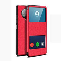 Custodia Portafoglio In Pelle Cover con Supporto T02 per Xiaomi Poco F2 Pro Rosso