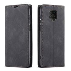 Custodia Portafoglio In Pelle Cover con Supporto T03 per Xiaomi Redmi Note 9 Pro Nero
