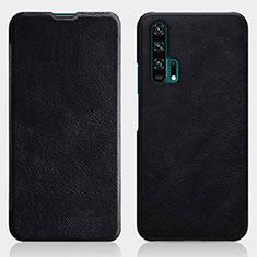 Custodia Portafoglio In Pelle Cover con Supporto T04 per Huawei Honor 20 Pro Nero