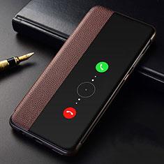 Custodia Portafoglio In Pelle Cover con Supporto T04 per Huawei Mate 30 Pro Marrone