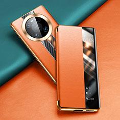 Custodia Portafoglio In Pelle Cover con Supporto T04 per Huawei Mate 40 Pro Arancione