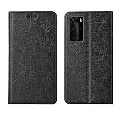 Custodia Portafoglio In Pelle Cover con Supporto T04 per Huawei P40 Pro Nero