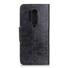 Custodia Portafoglio In Pelle Cover con Supporto T04 per OnePlus 8 Pro Nero