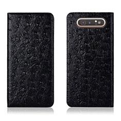 Custodia Portafoglio In Pelle Cover con Supporto T04 per Samsung Galaxy A80 Nero