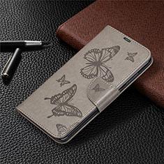 Custodia Portafoglio In Pelle Cover con Supporto T04 per Xiaomi Redmi Note 9 Grigio