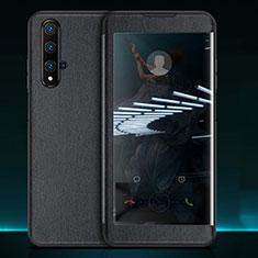 Custodia Portafoglio In Pelle Cover con Supporto T05 per Huawei Honor 20 Nero