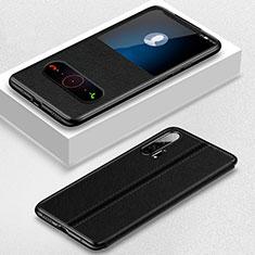 Custodia Portafoglio In Pelle Cover con Supporto T05 per Huawei Honor 20 Pro Nero