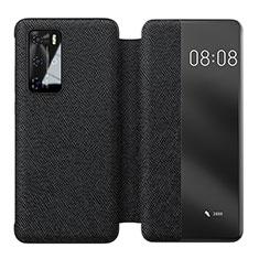Custodia Portafoglio In Pelle Cover con Supporto T05 per Huawei P40 Pro Nero