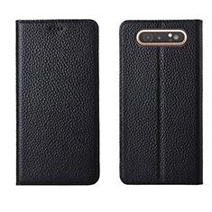 Custodia Portafoglio In Pelle Cover con Supporto T05 per Samsung Galaxy A80 Nero